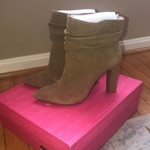 Tan suede, slouch ankle boots worn only 1x!!